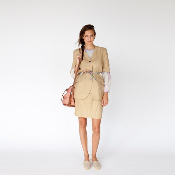 80s Sheltering Sky nude linen suit