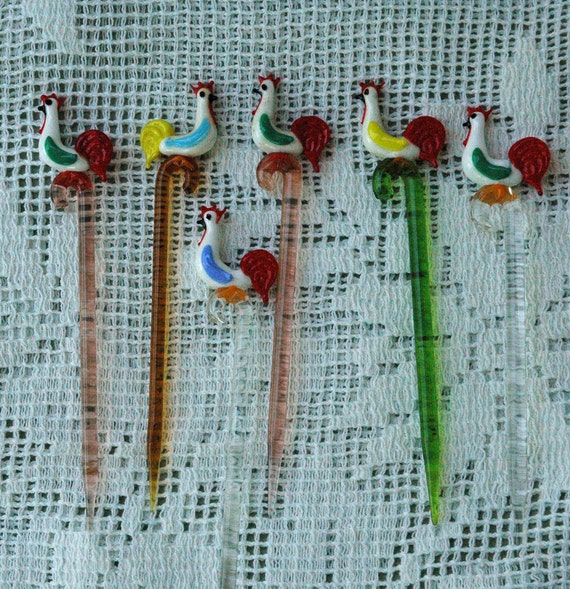 RESERVED FOR jessiann82   6 Glass Rooster Relish Skewers Vintage MINT