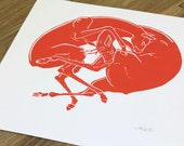 Red Deer Handprinted Screen Print
