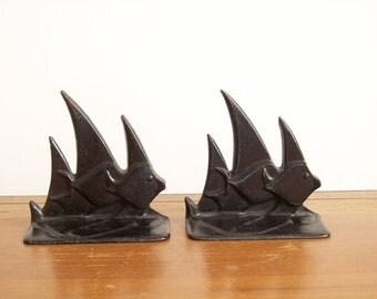 Cast Iron Fish Bookends, Nautical Decor, Vintage