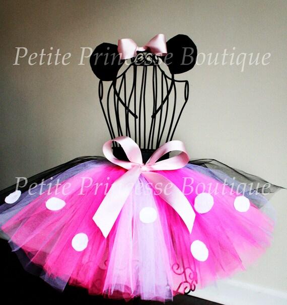 Minnie Mouse Tutu Set. Costume Tutu. Matching Mouse Ears Headband. Pink Black White Polka Dot. Ribbon. Birthdays. Halloween. Baby 12-18 Mo