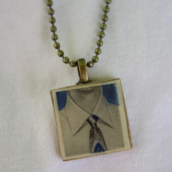 Vintage Shirt and Tie Scrabble Tile Pendant Necklace