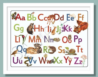 Woodland Theme Alphabet  Poster - ABC Room Decoration - Giclee Print - 24 x 18