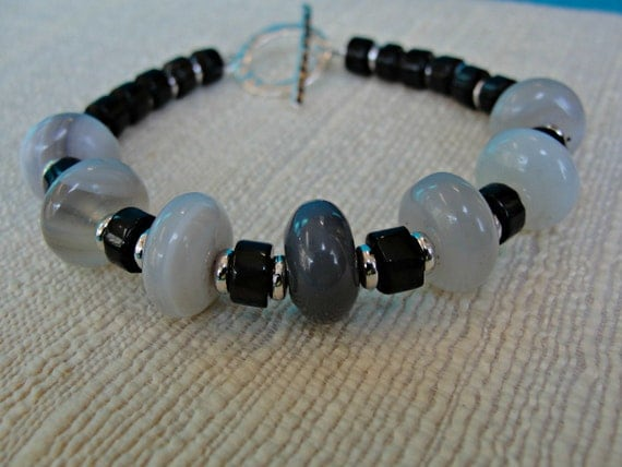 Gray Agate, Smoky Quartz and Silver Bracelet, One of a Kind
