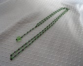 Vintage 1920s, Flapper Necklace, with Green Crystals