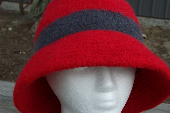 Wool Hat Felted Ladies Red and Grey Hand-Knit Bucket Style