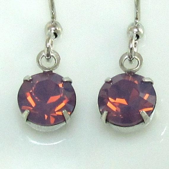 Pink Dangle Earrings Swarovski Cyclamen Opal Rhinestones in silver Bridal Wedding Bridesmaid Jewelry