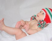 0-3 months Crocheted Photo Prop (red with pom poms) Christmas 14 in. Hat - IN STOCK