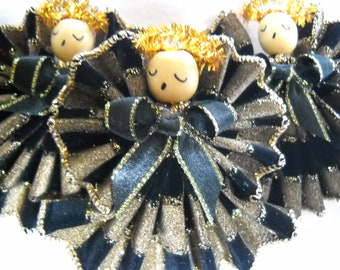 Angels in Black & Gold, Set of 3, With  Checkered Design