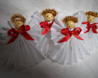 Angels, Group of 4, White With Red Bows, Tree Ornament, Hostess Gift