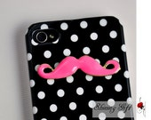 Iphone 4 Case, Pink Mustache Iphone case, Iphone 4 Hard Case, Black//white polka dot iphone 4/4S case