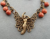 SALE...Fairy Necklace Antiqued Brass Gift For Her Goldstone Beads Art Deco Jewelry Friendship Gift