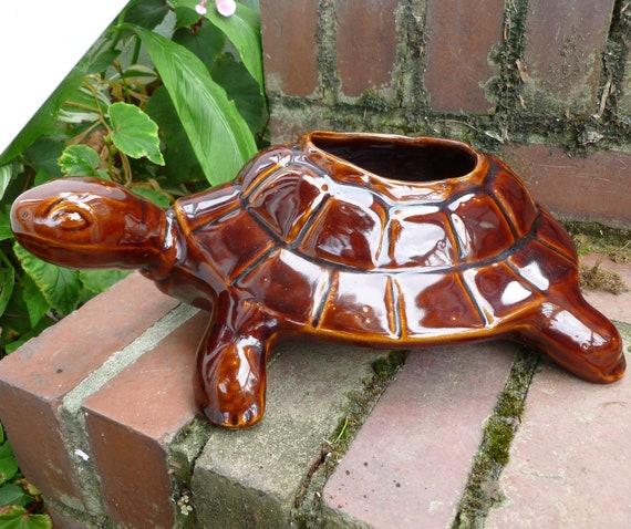 Brown Glazed Large Turtle - Tortoise Planter, Large CHK