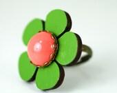 Mod Flower Ring Green Daisy