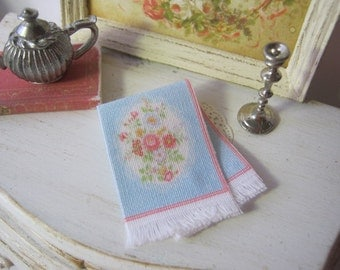 Floral Lace Fringed Tea Towel for 1:12 scale Dollhouse.