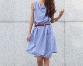 Unique Summer Dress Loose Fitting Cotton Sundress for Women in Blue - NC376
