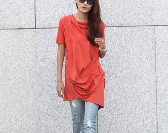 Lagenlook Casual And Relaxed Pullover Short Sleeved T-shirt Dress Top For Women in Orange - NC380
