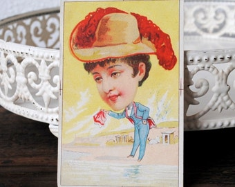 Early Antique Ad Card, Exaggerated Woman in Hat Cross Dressed, Rare Salesman Sample Blank Advertising