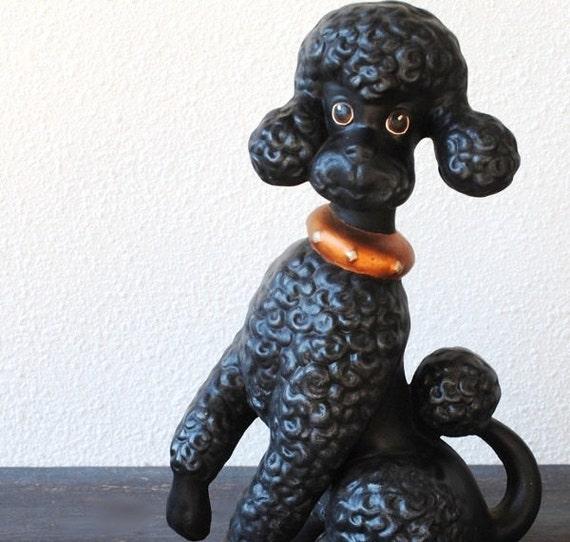 Kitsch Black Poodle Dog Statue Large Vintage By
