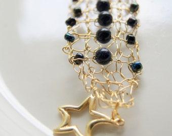 Knit Wire Gold Bracelet Blue Goldstone Gem Bracelet Gold Wire Lace Beaded Black and Gold Artisan Bracelet