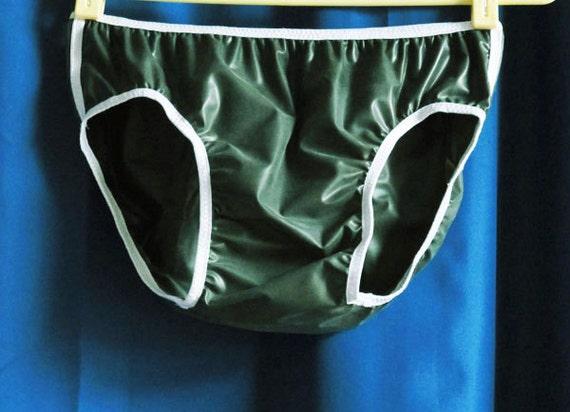 Mens Dark Army Green Waterproof Fetish .2mm Latex Rubber Bikini Underwear