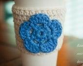Crochet Coffee Cozy - Cream with Blue Flower - Coffee Sleeve