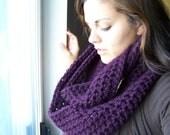 Crochet Infinity Scarf- Plum- SIZE MEDIUM