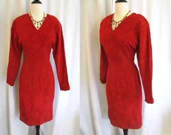 True Vintage Leather Dress - Red Suede Leather Wiggle Dress - Bermans - Size Small