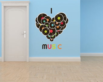 I Love Music Celebrity CD Artist Records Picture Art Bedroom Home Decor Boy Girl Child Teen Dorm Room Vinyl Wall Decal 30X30 Color 617
