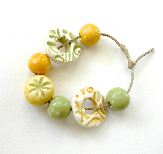Handmade Ceramic  Bead Set in Sage and Mustard  MADE TO ORDER