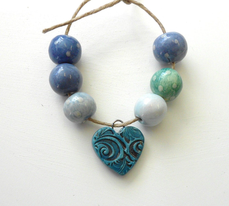 Ceramic Bead Beads: RESERVED FOR REBECCA...Handmade Ceramic Bead Set With Tiny
