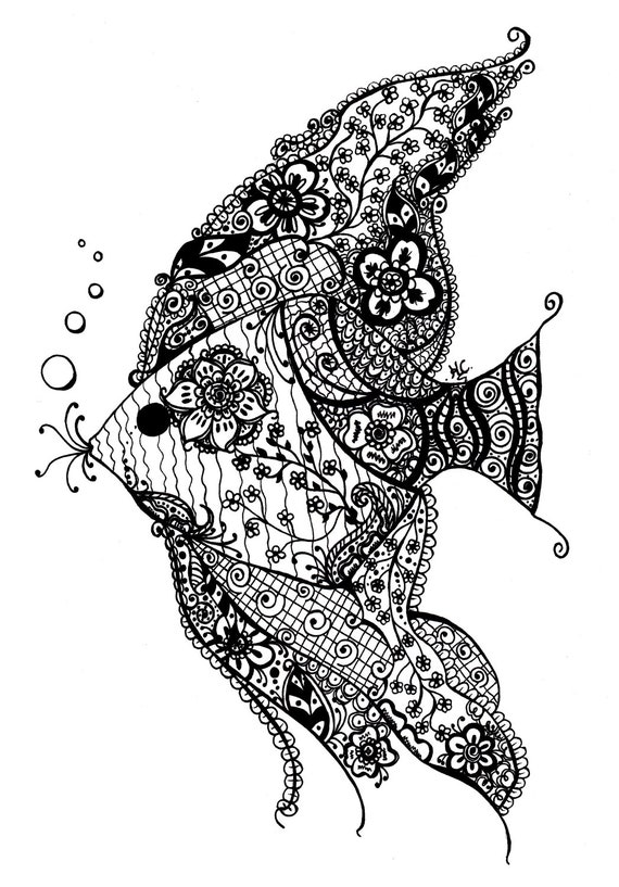 Items Similar To Henna style Angel Fish Black And White