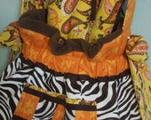 Luxury Handmade Pet Carrier - Zebra with orange and yellow - Adjustable strap, Removable pillow