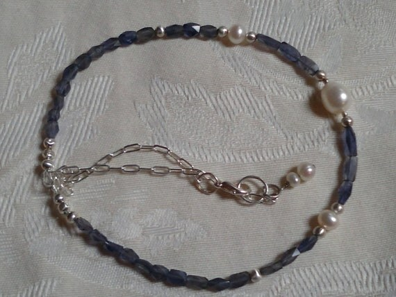 Blue Gemstone Pearl necklace Handmade Fine silver Sterling Silver flat drawn chain Artisan Design, Sundance Style Rustic Glam