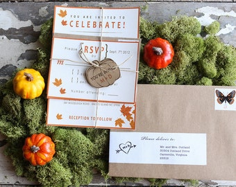 Fall themed wedding invitation with leaves and pumpkin tag tied with twine (price per suite)
