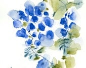 Blue Garden Original Abstract Art Watercolor Painting Botanicals 8x8 Mothers day gift for woman