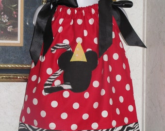 Birthday dress Custom made pillowcase dress minnie mouse redpolka dot hairbow 3mos,6mos,9mos,12mos,18mos,24mos,2t,3t,4t,5t,6
