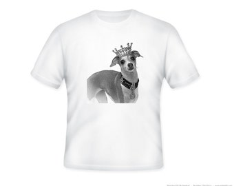 Royal Italian Greyhound Wearning Tiara Illustration on Adult Tshirt  -- other tshirt color and personalization available - adult sizes S-3XL