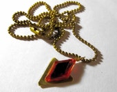 Zelda Necklace, Goron's Ruby, Gold Colored Ball Chain