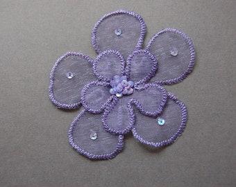 2pc Small - Sequin Purple Organza Flower