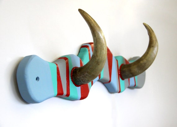 CIRCUS COLOURS HORNS wall coat hooks art jewellery display antlers in red, mint, blue & grey