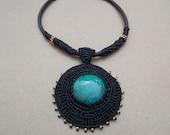 Goddess Turquoise Necklace/Gold Black Macrame/Peruvian Jewelry/Healing Stone