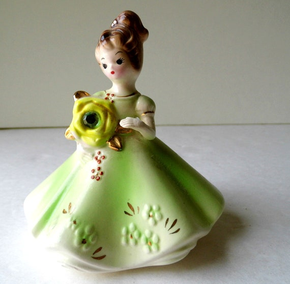 Vintage Knick Knack, Josef Original, Birthday Doll, Porcelain, Girl Figurine, Mid Century, Kitsch for Knick Knacks Shelf