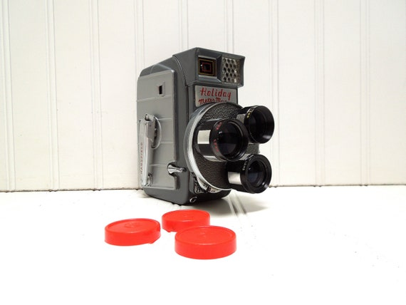 RESERVED for Eliab -- Vintage Camera Mansfield Holiday Meter Matic Triple Turret 8mm Film Camera