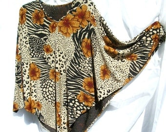 Slinky Poncho Style - Vintage Bat Wing Blouse  - Black with Animal Print  and Floral