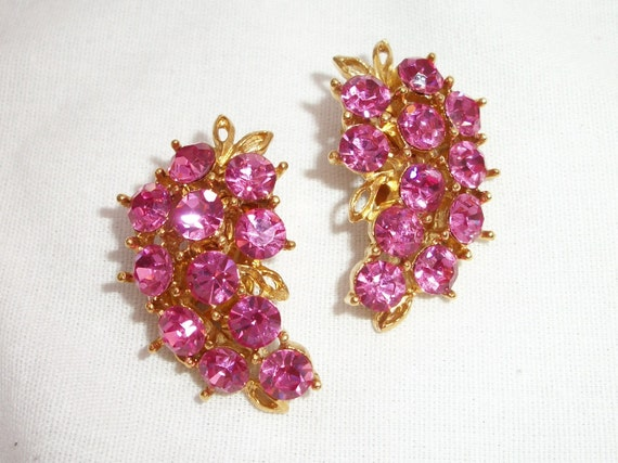 Pink WEISS Vintage Rhinestone Clip on Earrings - Wisteria - Grapes