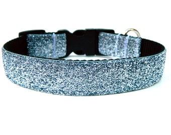 """Silver Dog Collar 1"""" Silver Glitter Dog Collar SIZE MEDIUM Ready To Ship"""
