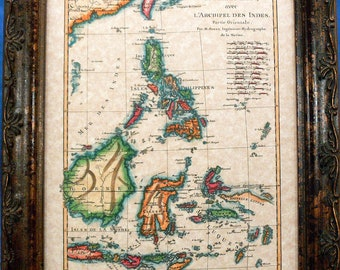 Phillipines-Borneo-Celebe Islands Map Print of a 1771 Map on Parchment Paper