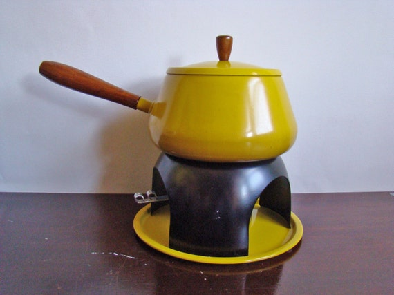vintage bright yellow Mid-Century fondue pot set
