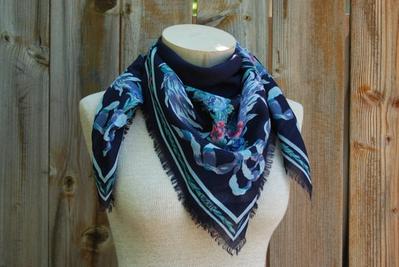 Wool and silk scarf, head wrap, or shawl, Navy and turquoise, Liberty of London, made in France.